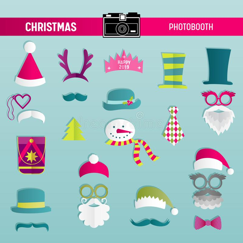 Christmas Retro Party set of Glasses, Hats, Moustaches, Beard, Masks for photobooth props vector illustration