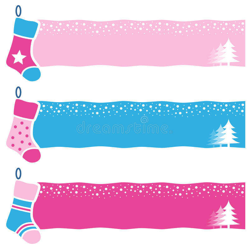 Christmas Retro Socks Horizontal Banners. A collection of three Christmas horizontal banners with retro socks on pink and blue background. Eps file available stock illustration