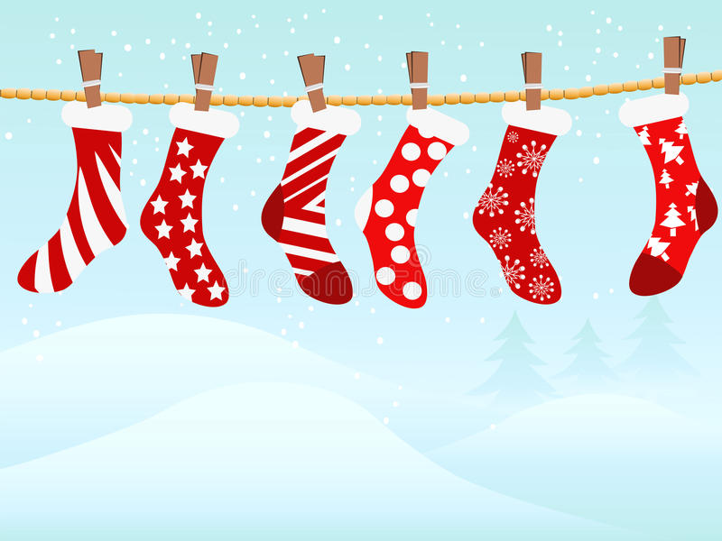 Christmas retro stockings in snowing stock illustration