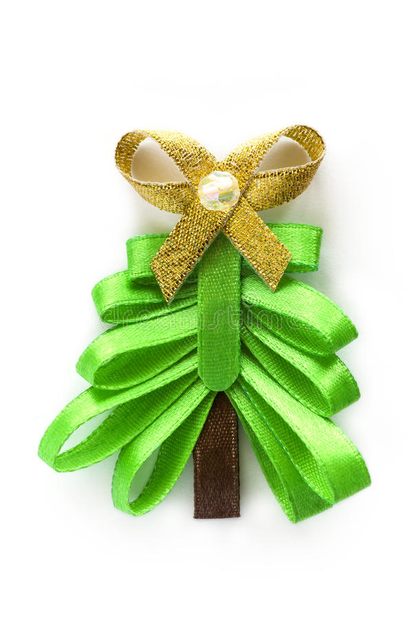 Christmas Ribbon Fir Tree With Gold Bow Royalty Free Stock Photography