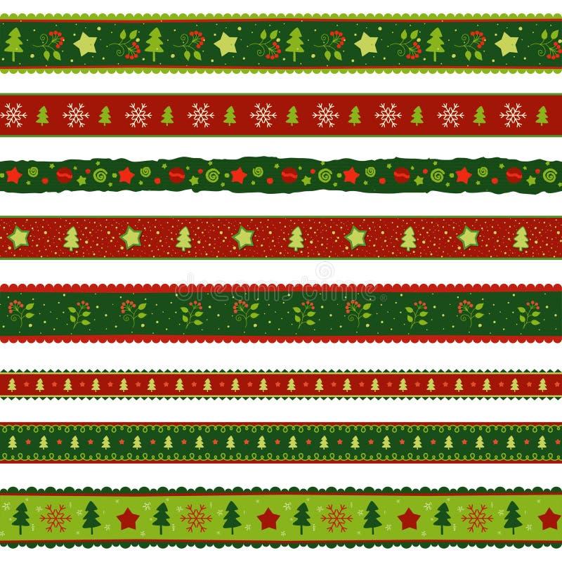 Christmas ribbon patterns set royalty free illustration