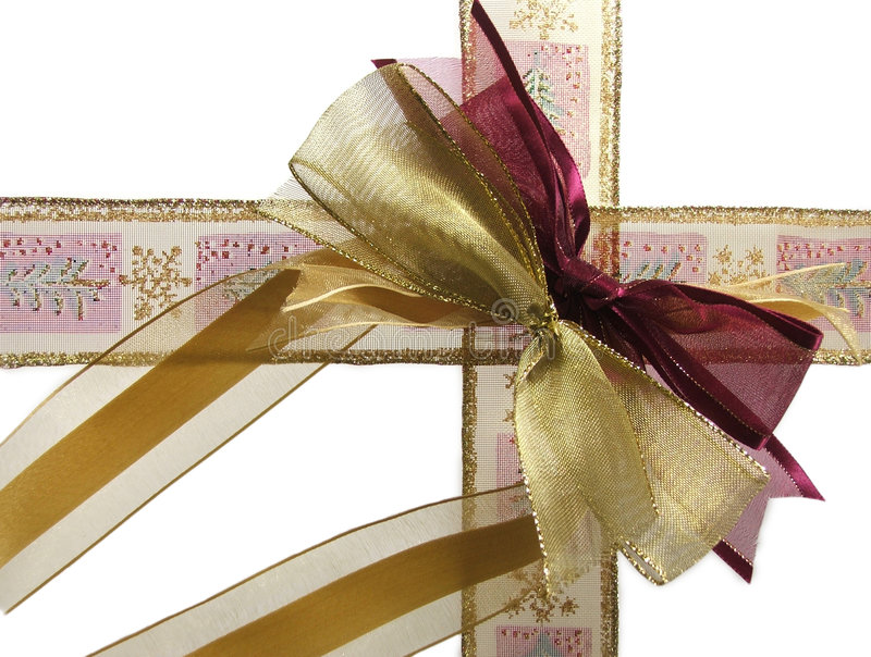Download Christmas ribbon on white stock photo. Image of tied, wrapped - 465662