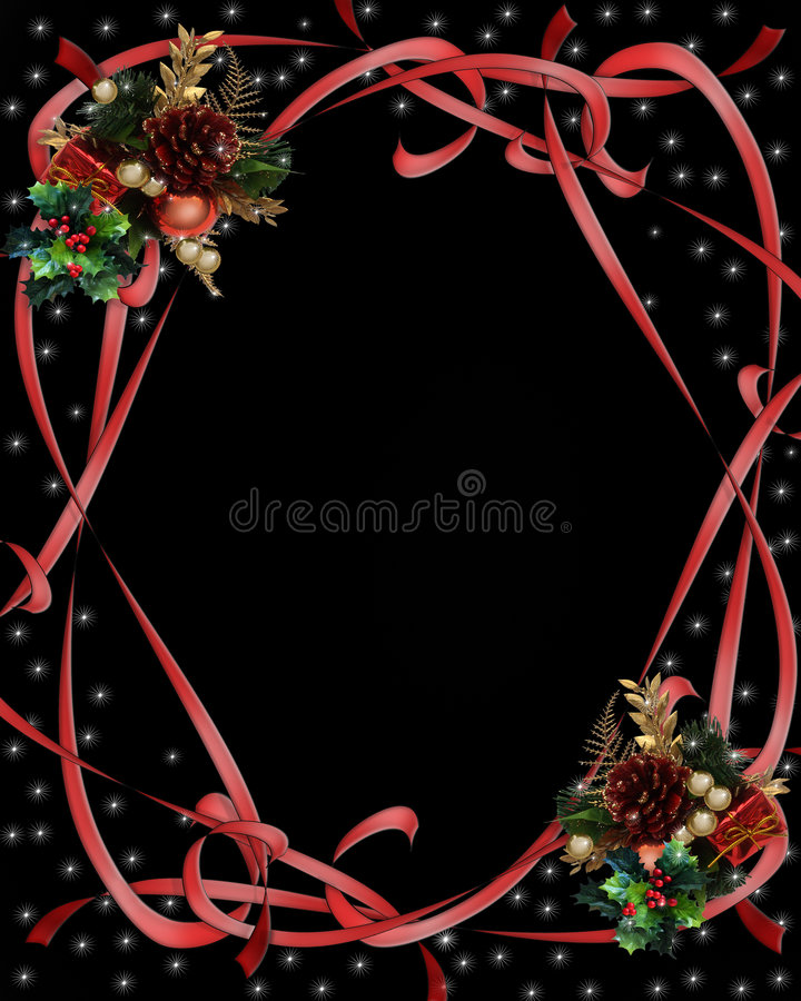 Christmas Ribbons Border on black royalty free stock photography