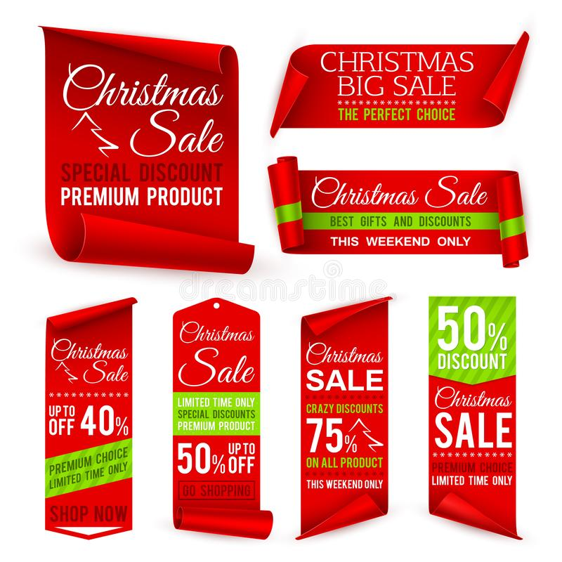 Christmas ribbons. Xmas holiday red fabric sale banners with discount offers. Realistic vector tag labels vector illustration