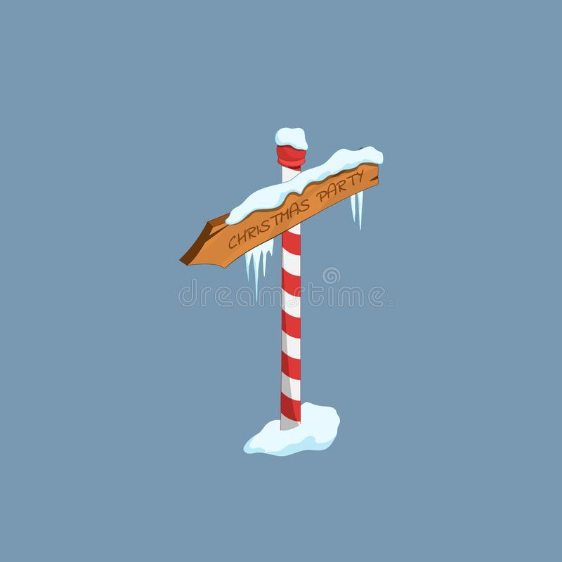 Christmas road sign in isometric style. Icy wooden arrow. Isolated image of cartoon signpost. Holiday pointer. Vector illustration stock illustration