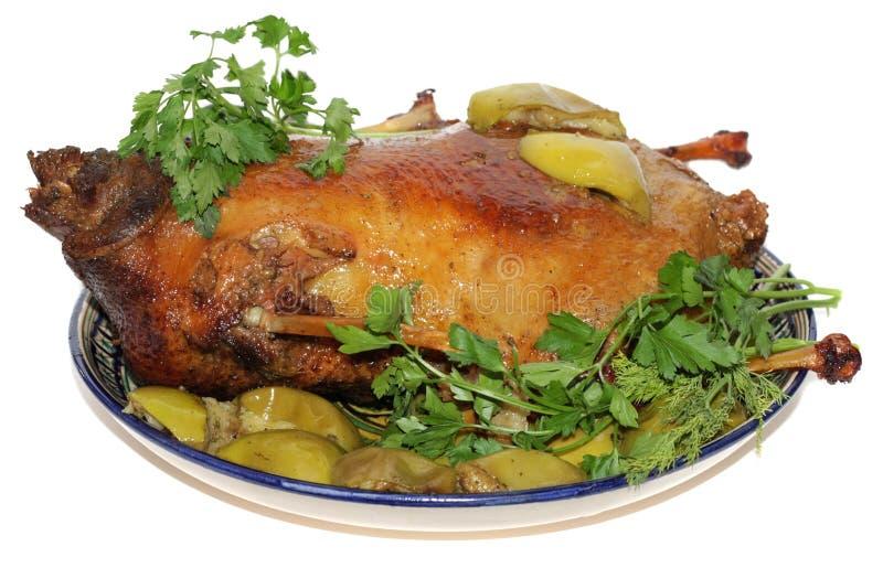 Christmas roast goose royalty free stock photo