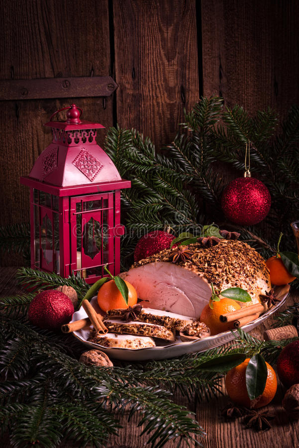 Christmas roast turkey stock photos