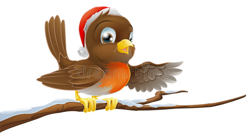 Download Christmas Robin On Snowy Branch Stock Vector - Illustration of chest, drawing: 25959817