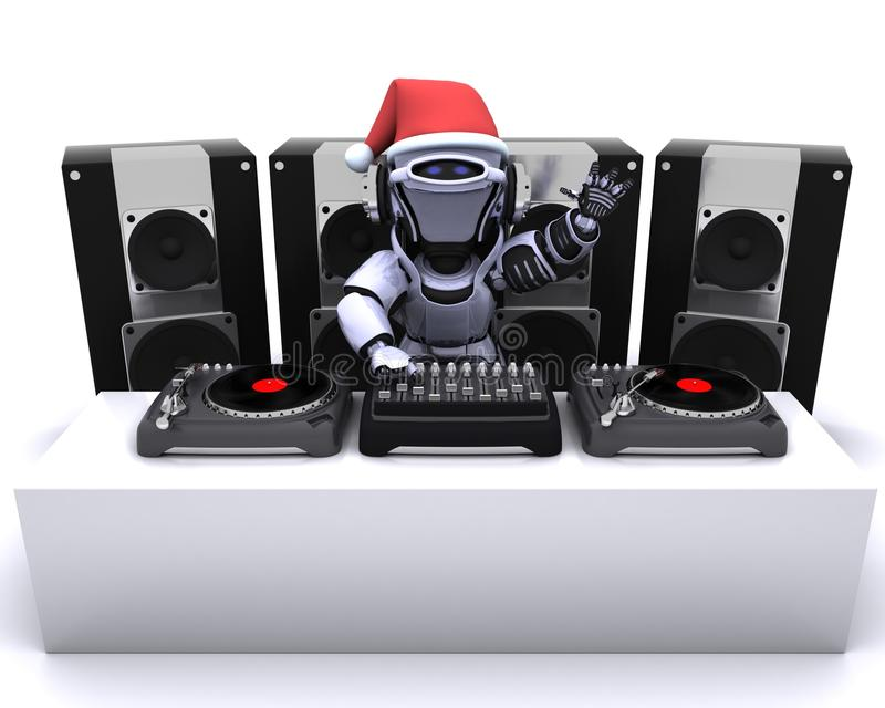 Christmas Robot DJ mixing records on turntables vector illustration
