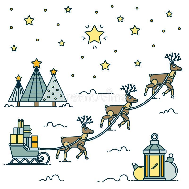 Christmas robotic deer linear art. Robot deer carrying gifts on sledges. Vector Illustration. royalty free illustration