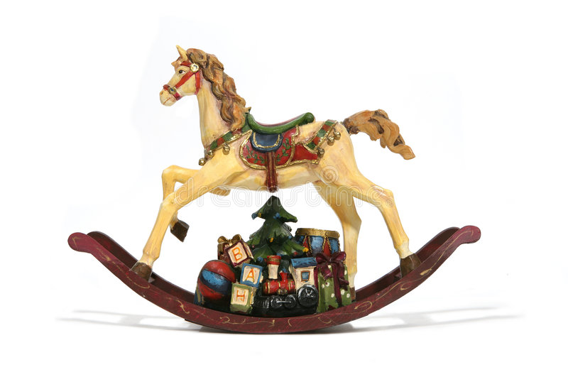 Christmas Rocking Horse. A Christmas rocking horse with presents underneath