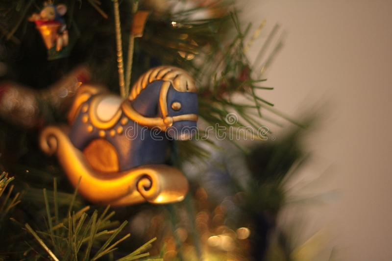 Christmas rocking horse ornament, with copyspace stock photography