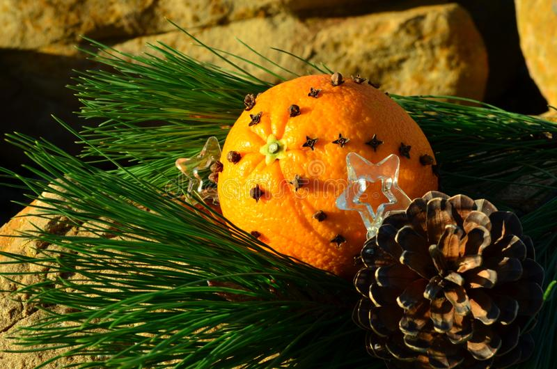 Christmas on the rocks , orange spiked with clove spice, beach, pine cone Christmas in July royalty free stock photography