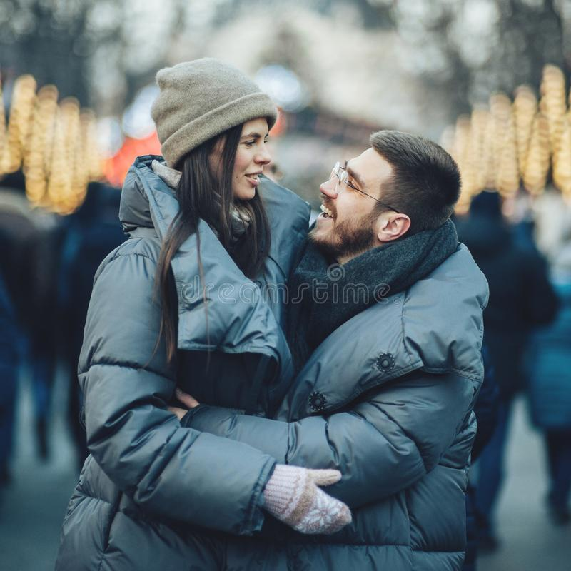 Christmas romantic sensual couple in love to cold winter day ove stock photography