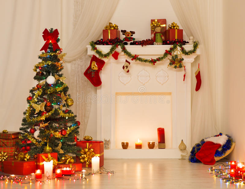 Christmas Room Interior Design, Xmas Tree Decorated By Lights royalty free stock photography