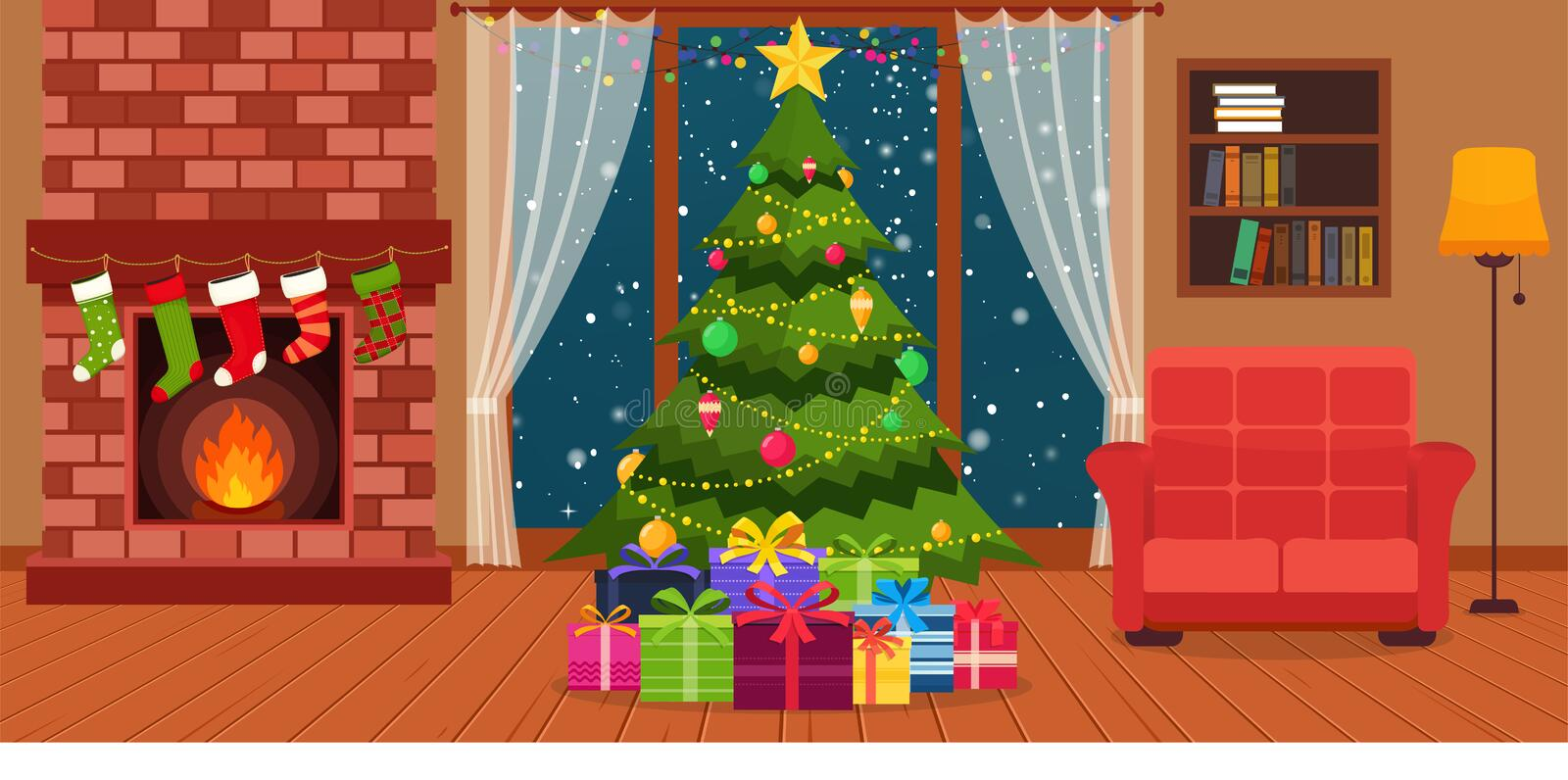 Christmas room interior with fireplace, armchair with lamps, she. Lf for books and green Christmas tree by the window royalty free illustration