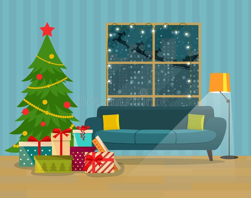 Christmas room interior. Pile of colorful wrapped gift boxes in front of the Christmas tree. stock illustration
