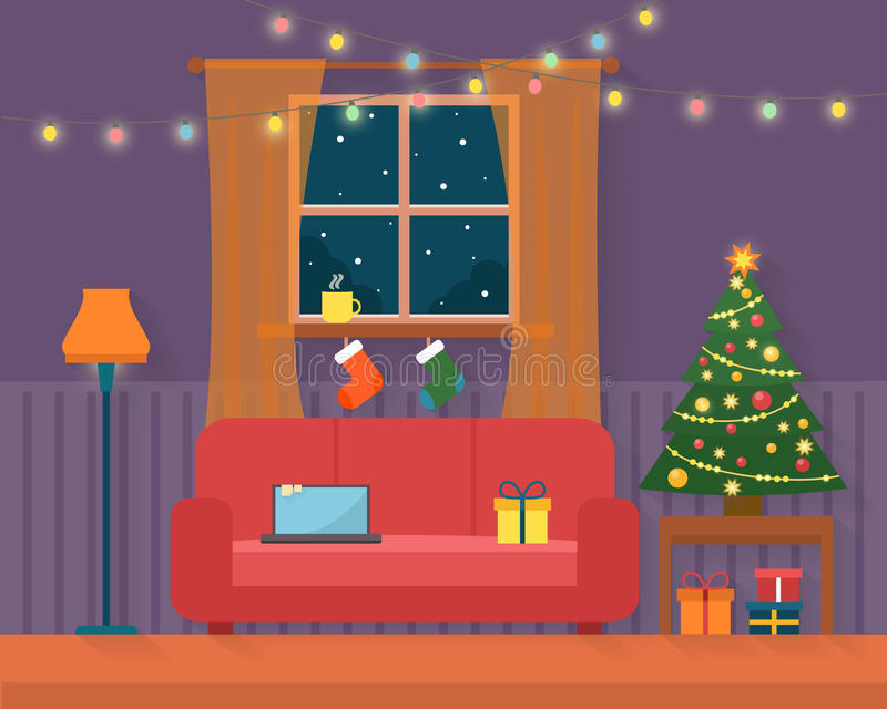 Christmas room interior. royalty free illustration