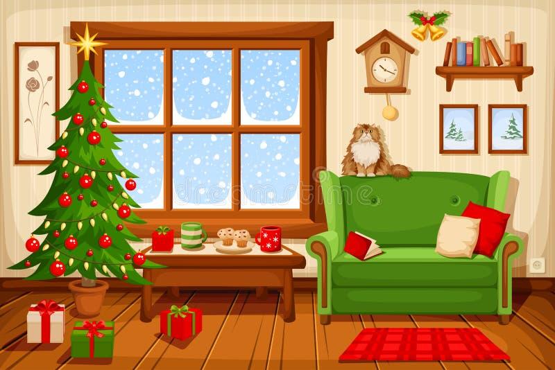 Christmas room interior. Vector illustration. royalty free illustration