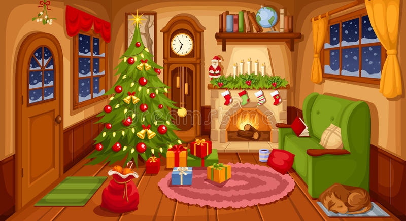 Christmas room interior. Vector illustration. stock illustration
