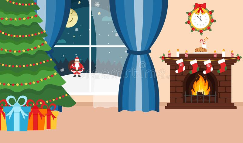 Christmas room. Santa Claus outside the window. Winter. The interior of the Christmas room. Santa Claus outside the window. Winter holidays. Fireplace, Christmas vector illustration