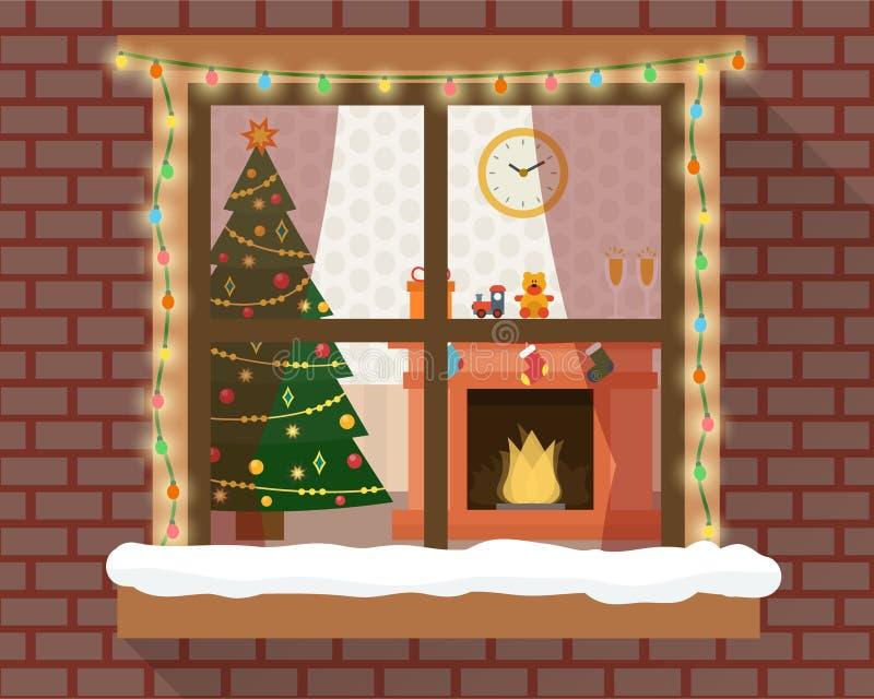 Christmas room through the window vector illustration