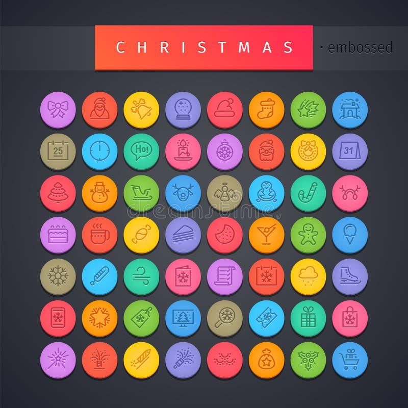Christmas Round Embossed Icons Set royalty free illustration