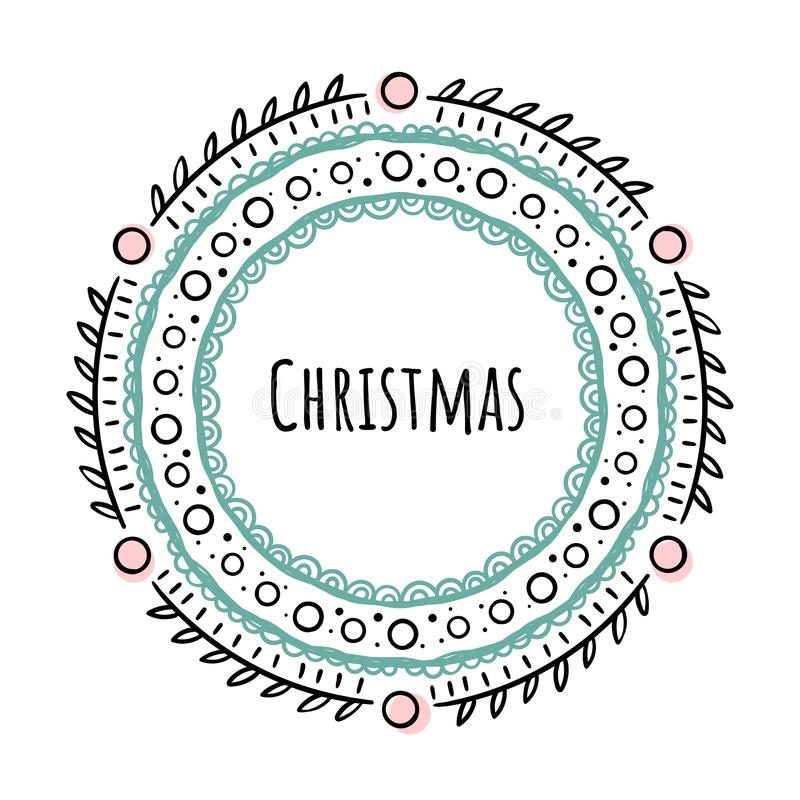 Christmas round frame in Doodle style. Vector illustration on white background royalty free illustration
