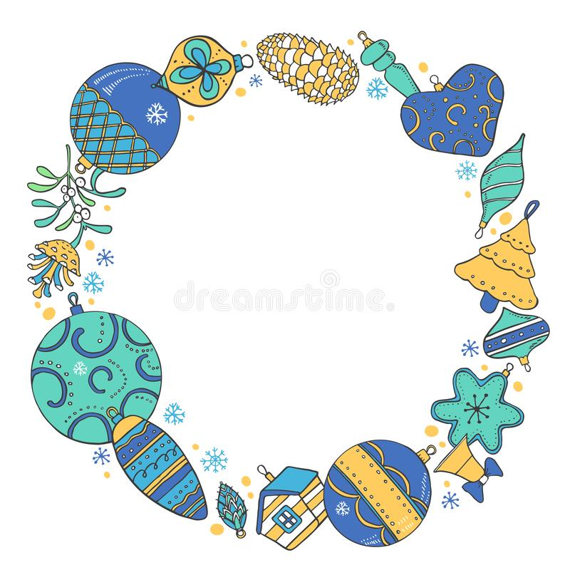 Christmas round frame template. Hand drawn color outline vector sketch illustration of New Year decorations and plants royalty free illustration