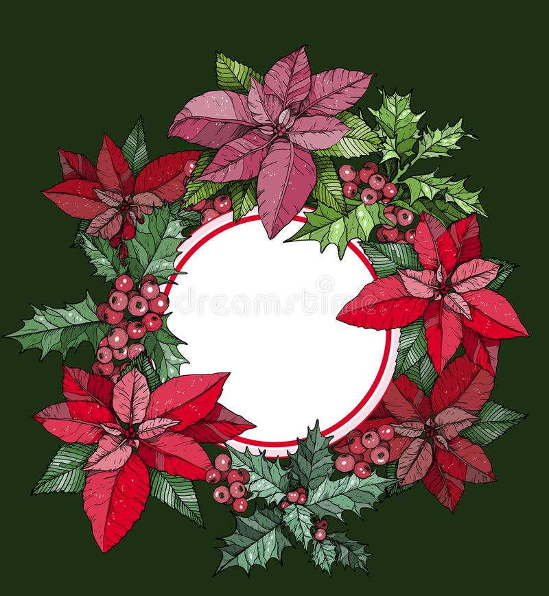 Christmas round frame, wreath from poinsettia flowers. Green background stock illustration