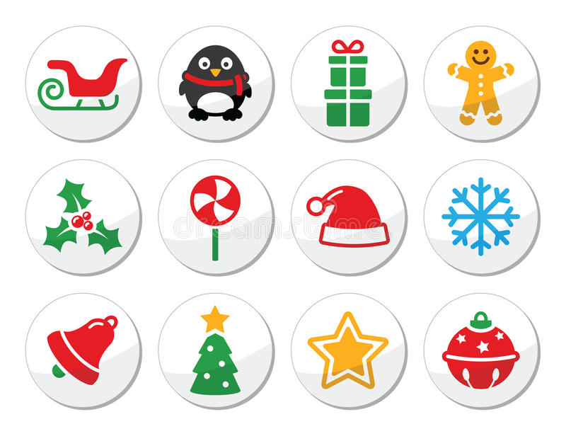 Christmas  Round Icons Set Royalty Free Stock Photos