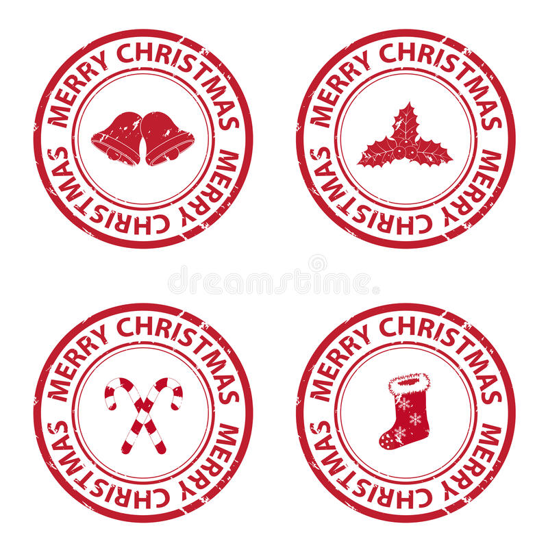 Christmas rubber stamps. Isolated on white background vector illustration