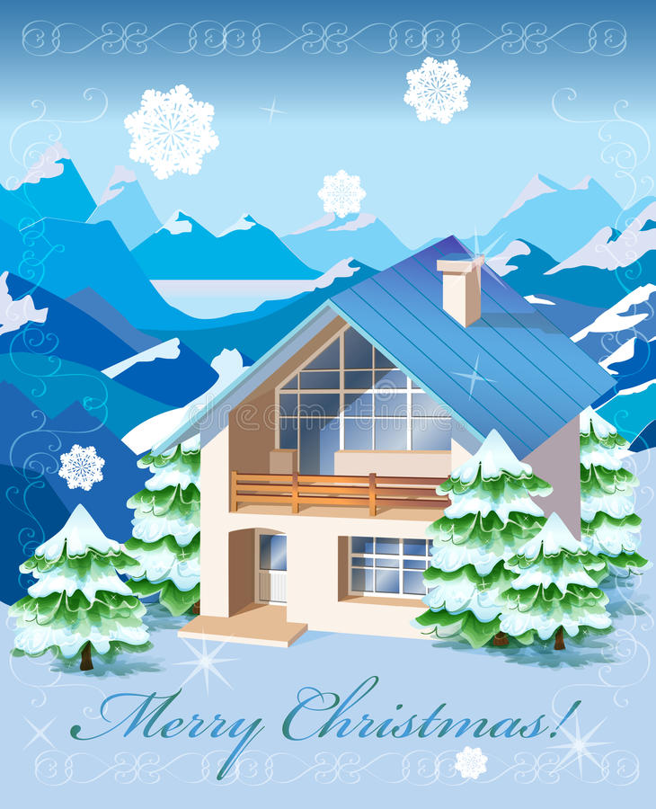 Download Christmas rural landscape stock vector. Image of construction - 22008616