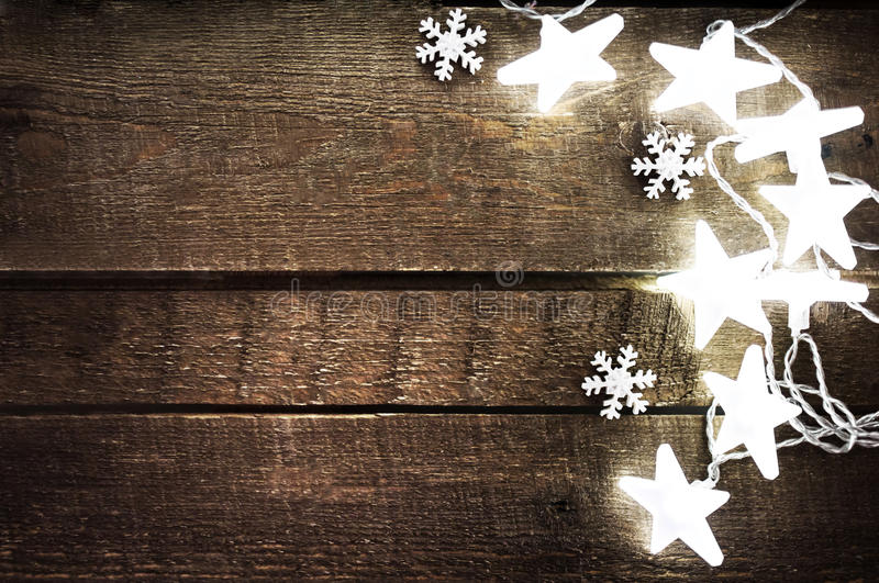 Download Christmas Rustic Background With Lights Snowflakes Stars And F Stock Image