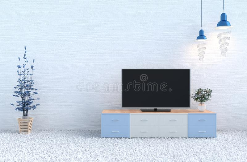 Christmas`s day and new year. 3d render. White living room decor with white wood wall, carpet, white rose in glass vase,Television,lamp,branch tree.Christmas`s royalty free stock photo