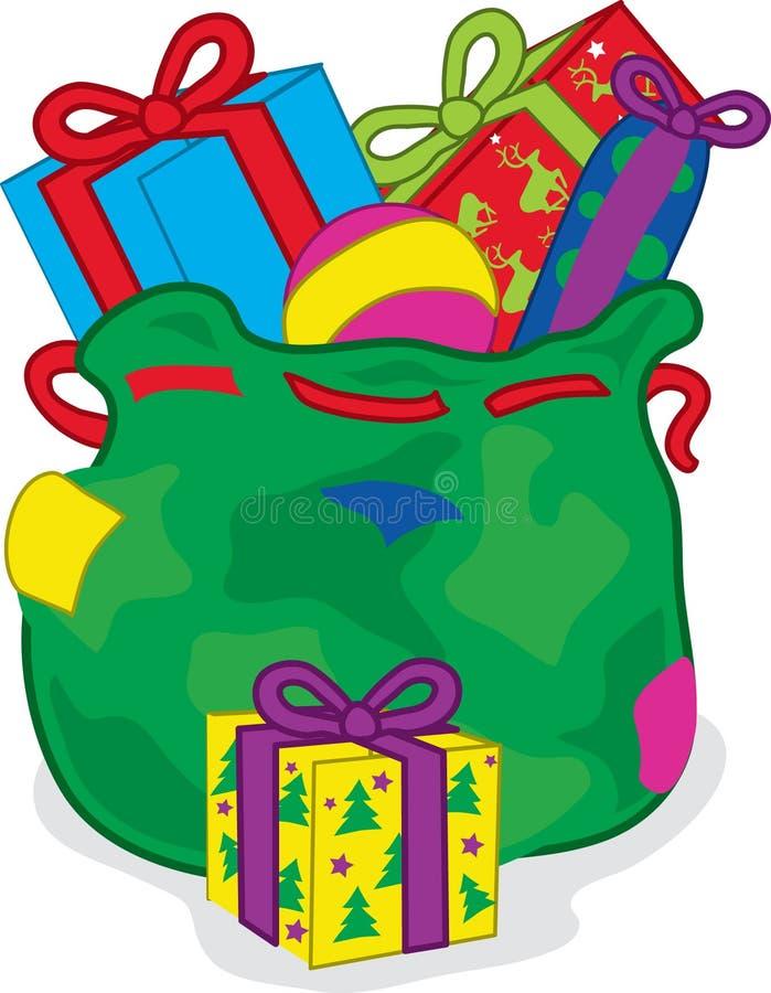 Christmas sack of presents stock photography