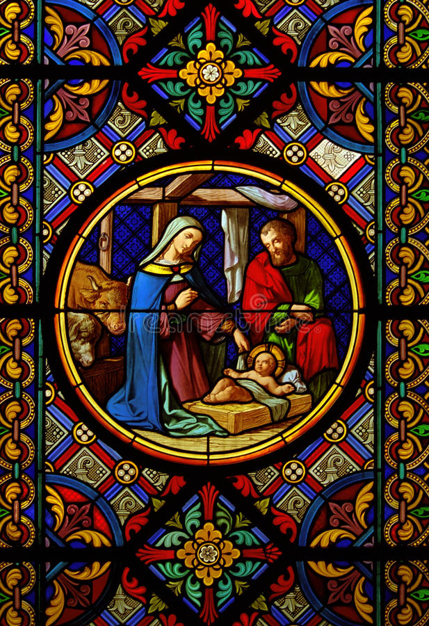 Christmas.Stained glas window royalty free stock photography