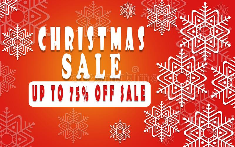 Christmas sale banner for booklet 75%, holiday flyer, poster, advertising logo, leaflet for the store template design. The modern vector illustration