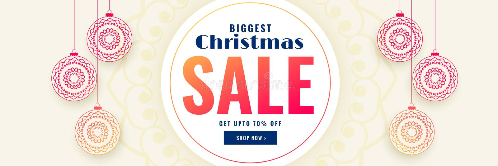 Christmas sale banner with decorative xmas balls. Vector royalty free illustration