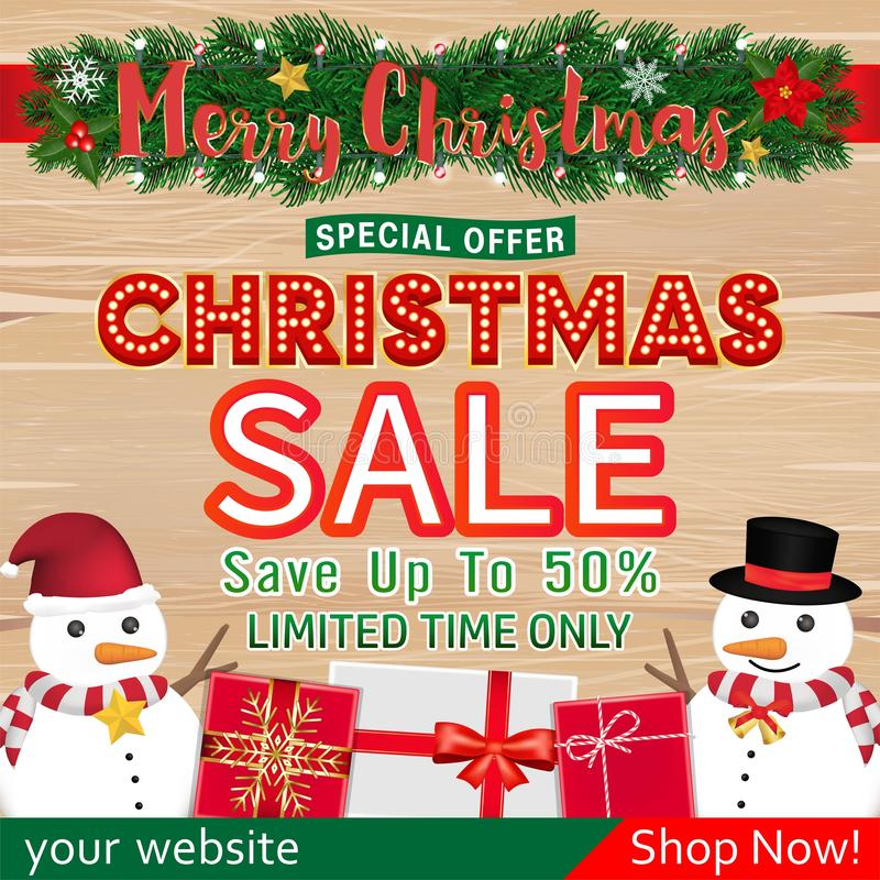 Christmas sale banner design with snowman gift box royalty free stock image
