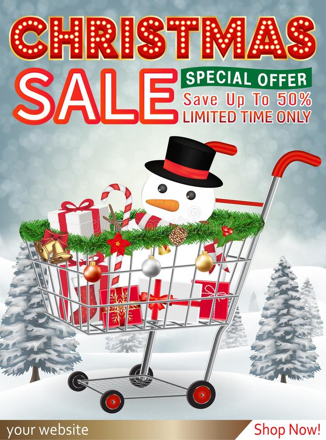 Christmas sale banner with gift box in cart royalty free stock photo