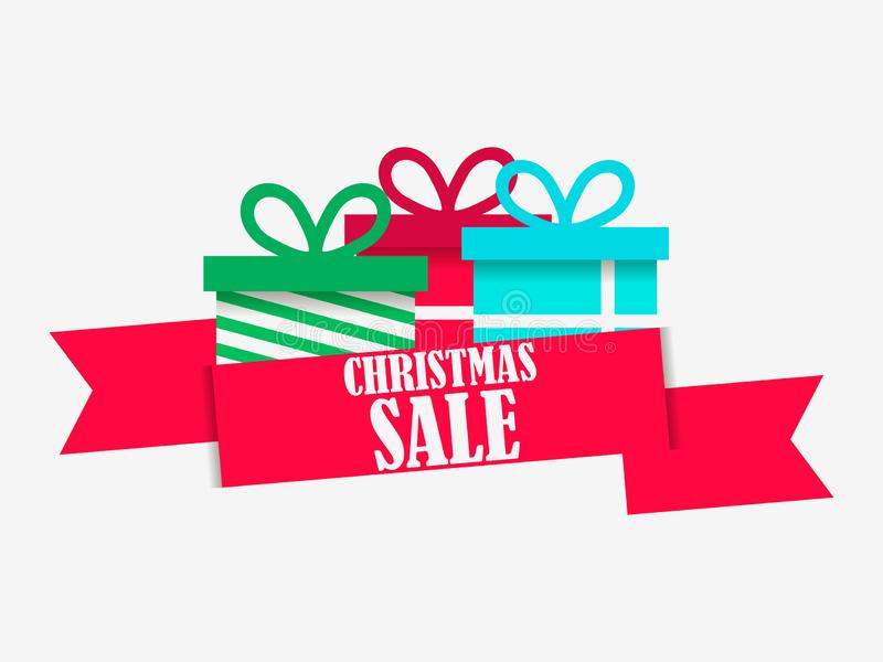 Christmas sale banner with gift box on white background. Special offer. Poster for advertisements, festive design. Vector vector illustration