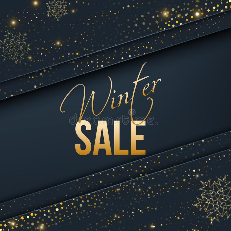 Christmas sale banner with gold stars vector illustration