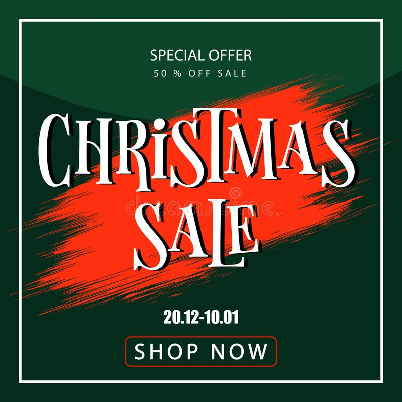 Banner christmas sale. Discount coupon. Sell-out royalty free stock images