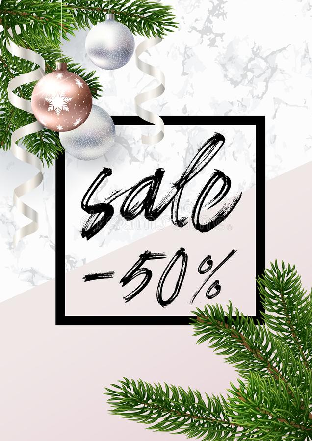 The Christmas sale banner. Marble, balls and pink vector illustration