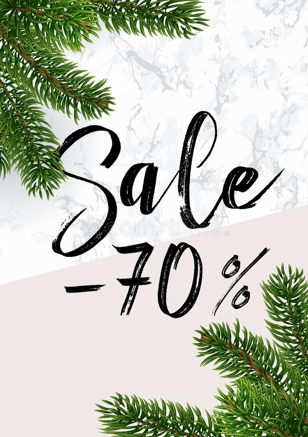 The Christmas sale banner. Marble and pink vector illustration