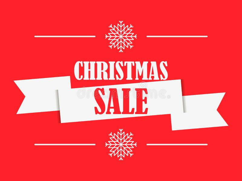 Christmas sale banner with ribbon on red background. Poster for advertisements, festive design. Vector royalty free illustration