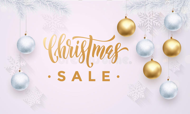Christmas Sale banner with snowflakes white pattern gold ball ornaments vector illustration