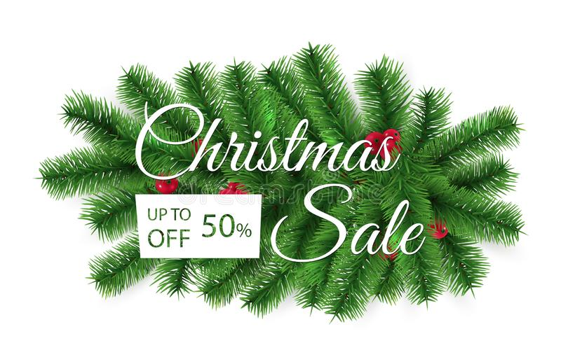 Christmas sale banner. Special offer, discount vector template. Christmas tree branches advertising background vector illustration