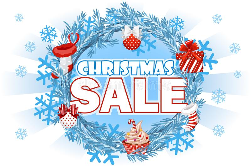 Christmas Sale - banner with text on blue wreath spruce. Vector background. royalty free illustration